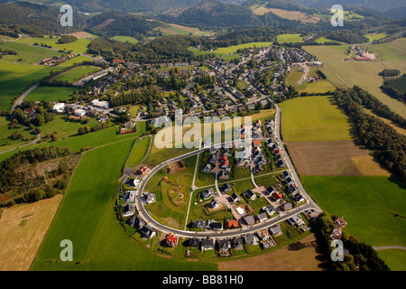 Aerial photo, new construction site for residential houses east of the village, Wiblingwerde, Nachrodt-Wiblingwerde, - Stock Photo