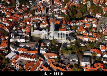 Aerial photo, St. Petri church, St. Patrokli-Dom Cathedral, inner city, Soest, Kreis Soest, Soester Boerde, South - Stock Photo