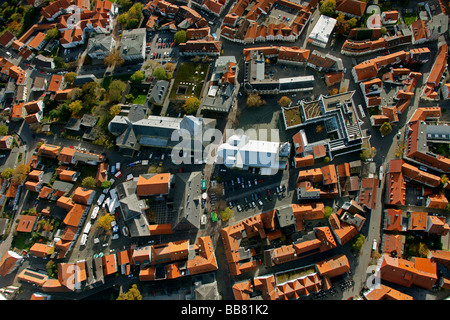 Aerial photo, St. Petri church, right, St. Patrokli-Dom Cathedral, left, inner city, Soest, Kreis Soest, Soester - Stock Photo