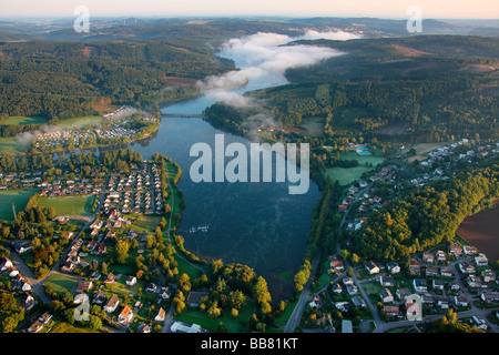 Aerial photo, Sundern Amecke Illingheim with Sorpesee Lake, Sundern, Hochsauerlandkreis, Sauerland, North Rhine - Stock Photo