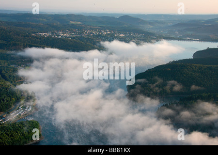 Aerial photo, Langscheid, Sorpesee Lake, Sundern, Hochsauerlandkreis, Sauerland, North Rhine-Westphalia, Germany, - Stock Photo