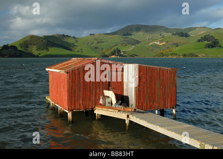 A red boathouse at Hoopers Inlet, Otago Peninsula, New Zealand - Stock Photo
