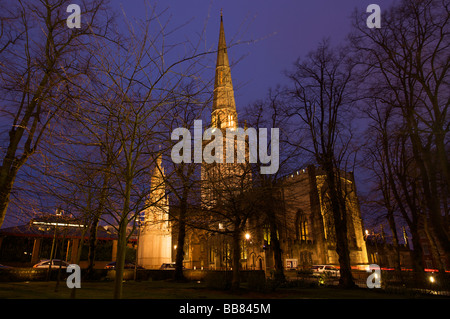 Holy Trinity Church in Coventry at night, Coventry, West Midlands of England, United Kingdom - Stock Photo