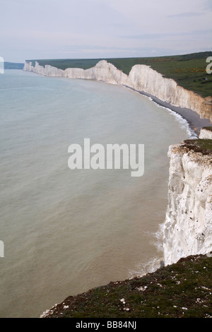 White chalk cliffs Seven Sisters from Birling Gap East Sussex England - Stock Photo