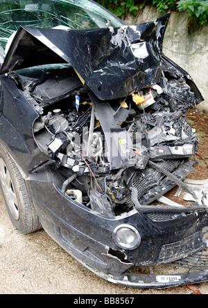 Car crash wreck, damaged car - Stock Photo