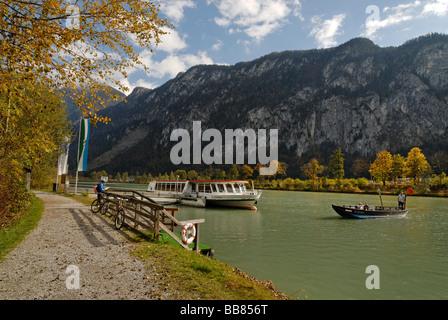 Boat and ferryboat on the Inn River near Kiefersfelden in the Inntal Valley, Upper Bavaria, Germany, Europe
