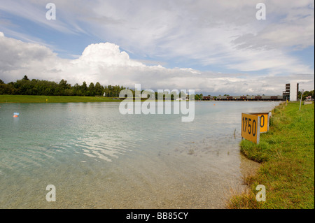 Regatta area for Rowing races, Olympic games 1972, Oberschleissheim, Munich, Upper Bavaria, Germany, Europe - Stock Photo