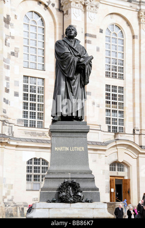Martin Luther statue in front of the Frauenkirche Church of Our Lady, Dresden, Saxony, Germany, Europe - Stock Photo