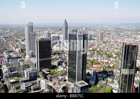 Frankfurt's skyline as seen from Maintower viewing platform, back, Messeturm, DEKA Bank building, banking quarter, - Stock Photo