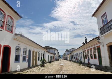 Street in the baroque historic city of Paraty, Parati, Rio de Janeiro, Brazil, South America - Stock Photo