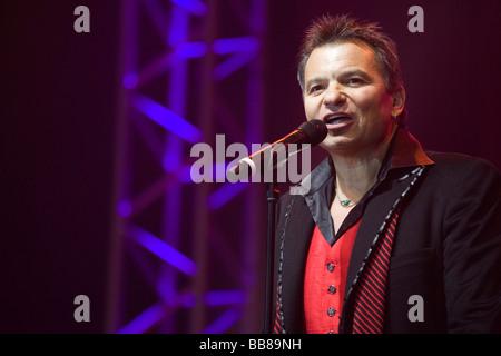 Markus Wolfahrt, singer and frontman of the Austrian folk group 'Die Klostertaler', live at the '9. Schlager Nacht' - Stock Photo