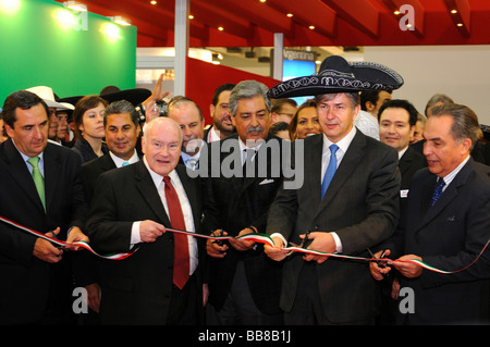 The governing mayor of Berlin, Klaus Wowereit with a sombrero as a headdress, opening the Mexican stand at the International - Stock Photo