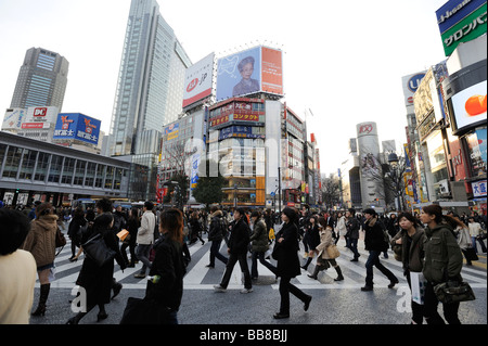 Intersection at Shibuya Station in Tokyo, Japan, Asia - Stock Photo