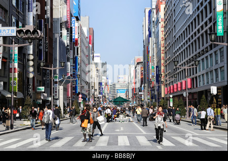 Shopping street in the Ginza district, Tokyo, Japan, Asia - Stock Photo