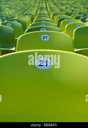 Row of seats in the Olympic Stadium in Munich, Bavaria, Germany, Europe - Stock Photo