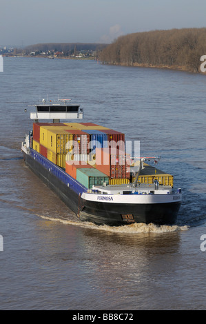 Formosa container ship on the River Rhine near Bonn, North Rhine-Westphalia, Germany, Europe - Stock Photo