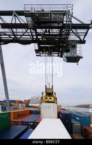 Harbour of Bonn, gantry crane letting containers down on a container ship, bimodal container handling, North Rhine-Westphalia,