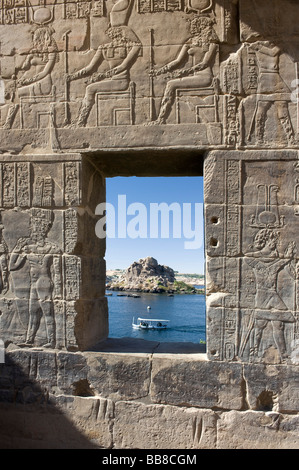 View through a stone window at the Temple of Philae, Assuan, Egypt, Africa - Stock Photo