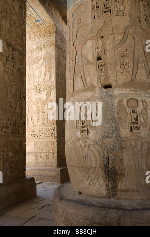 Mortuary Temple of Ramses III, Ramesseum in Medinet Habu, columns with hieroglyphics, West Thebes, Luxor, Egypt, - Stock Photo
