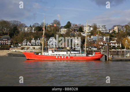 Elbe 3 lightship in Overgoenne museum harbour, Neumuehle, Hamburg, Germany, Europe - Stock Photo