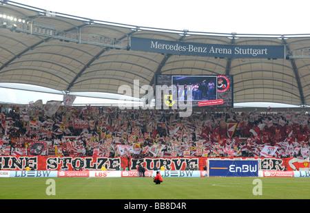 Sea of flags at the corner full of VfB Stuttgart fans, Mercedes-Benz Arena Stuttgart, Baden-Wuerttemberg, Germany, - Stock Photo
