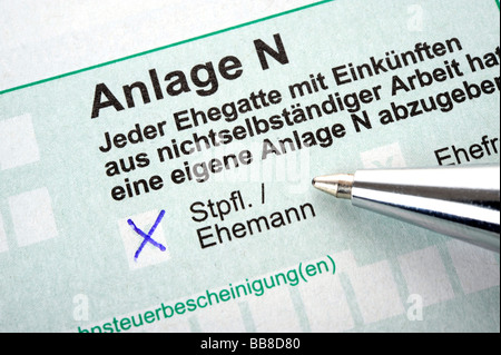 German income tax form, Anlage N for income from dependent work - Stock Photo