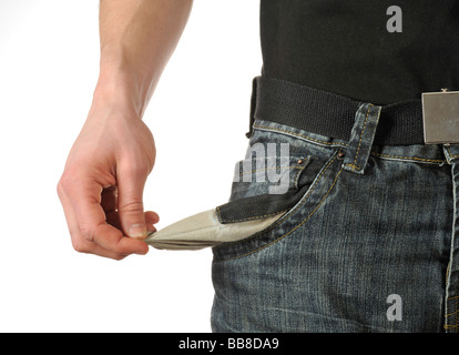 Empty trouser pocket, symbolic picture for personal bankrupty - Stock Photo