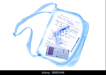 Symbolic image, violence at school, radiogram scan of a student's bag with weapon Walther PPK, writing utensil, - Stock Photo
