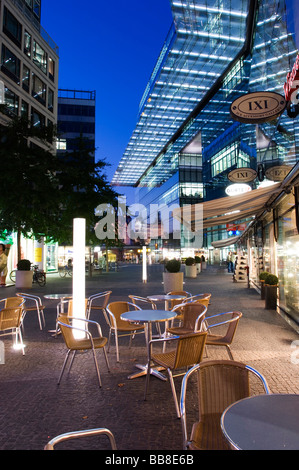 Street cafe in the evening in a shopping arcade, Berlin, Germany, Europe - Stock Photo