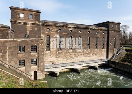 Historic hydropower plant Raffelberg, Muehlheim an der Ruhr, North Rhine-Westphalia, Germany, Europe - Stock Photo