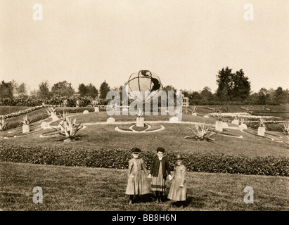 Flower-covered globe in Washington Park for the Columbian Exposition Chicago 1893. Albertype (photograph) - Stock Photo