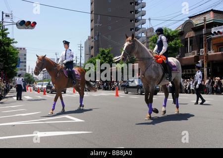Japanese mounted police on duty, Iwakura, Kyoto, Japan, Asia - Stock Photo