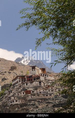 Convent of Diskit, Nubra Valley, Ladakh, India, the Himalayas - Stock Photo