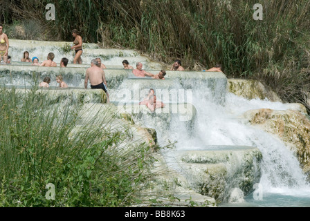 Cascate del Mulino (Mill waterfall) at the spa of Saturnia in the province of Grosetto In Tuscany - Stock Photo