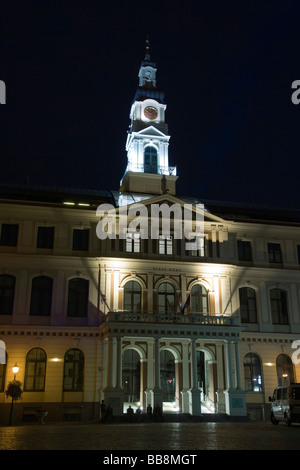 Riga City Council, Rigas Dome at night, Town Hall Square, Ratslaukums, Old Town, Vecriga, Riga, Latvia, Baltic region - Stock Photo