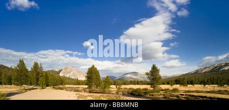 Panoramic landscape view of Tuolumne Meadows, Lembert Dome, Yosemite National Park, California, USA - Stock Photo