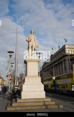 Statue of Sir John Gray and the Spire of Dublin, Monument of Light, O'Connell Street, Dublin, Ireland - Stock Photo