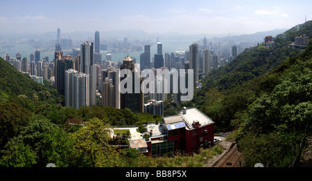 View from Victoria Peak of Hong Kong Skyscrapers and Victoria Harbour China - Stock Photo