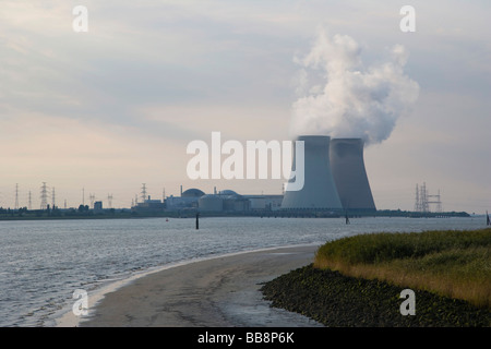 Doel nuclear power station, view from Lillo, Antwerp industrial port, Belgium - Stock Photo