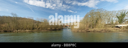 River Thames and Streatley weir from Goring towpath Oxfordshire Uk - Stock Photo