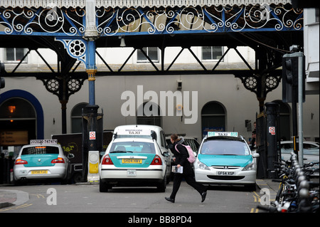 Taxis at Brighton Station - Stock Photo