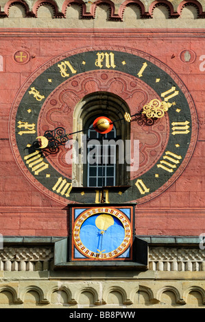 Clockface and lunar calendar on the bell tower of the Church of St. Michael, Schwaebisch Hall, Schwaebisch Hall - Stock Photo