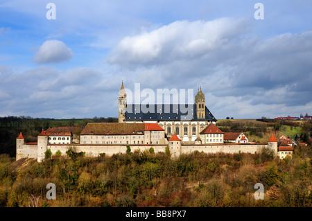 Comburg or Grosscomburg Monastery in Steinbach near Schwaebisch Hall, Schwaebisch Hall district, Baden-Wuerttemberg, - Stock Photo