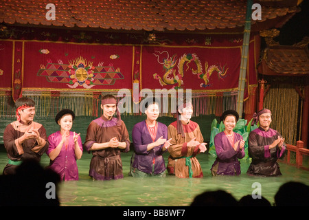 Curtain Call at the Thang Long Water Puppet Theatre in Hanoi, Vietnam - Stock Photo