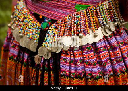 H.mong hill tribe girls in Vietnam wear their new outfits on January 1st 2009 - Stock Photo