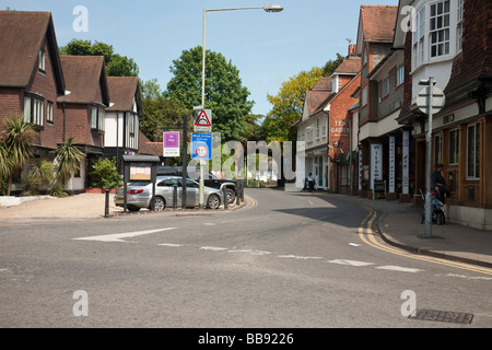 Whitchurch Road and High Street road junction in Pangbourne looking towards the railway bridge Berkshire Uk - Stock Photo
