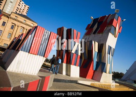 Colourful sculpture at the Adelaide Festival Centre.  Adelaide, South Australia, AUSTRALIA - Stock Photo