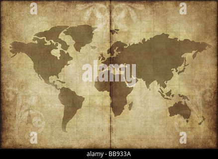 great image of old and worn parchment with world map - Stock Photo
