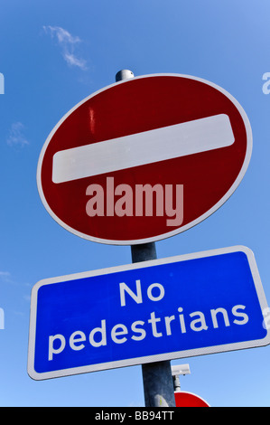 No Entry road sign with 'No Pedestrians' sign. - Stock Photo