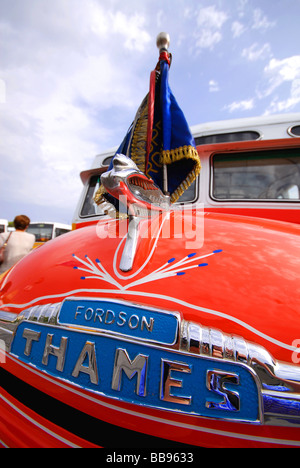 MALTA. Detail on a vintage Fordson Thames bus at Valletta bus station. 2009. - Stock Photo
